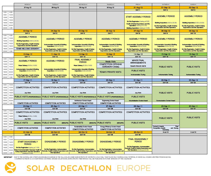 Calendar of the SDE Competition